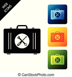 Toolbox icon isolated. Tool box sign. Set icons colorful square buttons. Vector Illustration