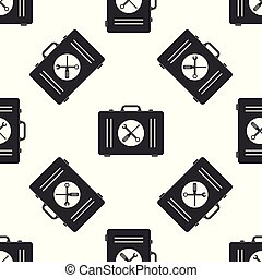 Toolbox icon seamless pattern on white background. Flat design. Vector Illustration