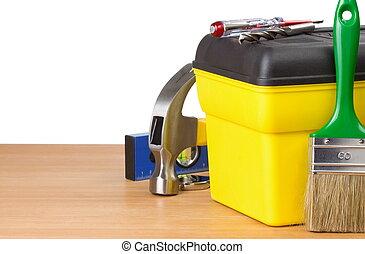 toolbox, konstruktion, redskapen, isolerat, vit