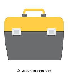 toolbox, lägenhet, ikon, bygga, och, reparera, toolkit, underteckna, vektor, grafik, a, färgrik, fast, mönster, på, a, vit fond, eps, 10.