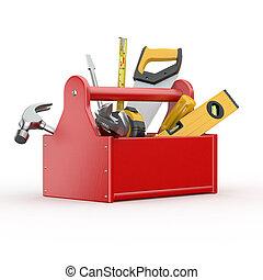 toolbox, med, tools., skrewdriver, hammare, handsåg, och,...