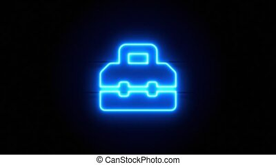 Toolbox neon sign appear in center and disappear after some time. Animated blue neon icon on black background. Looped animation.