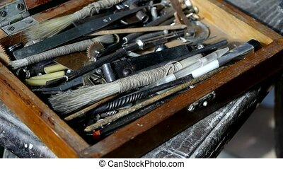 toolbox., obtenir, vieux, outils, artisans