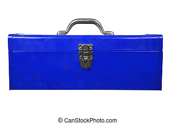 Toolbox - Old used blue toolbox over a white background