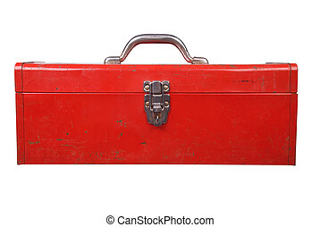 Old used red toolbox over a white background