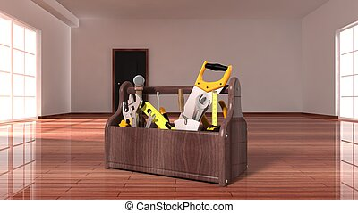Toolbox on wooden floor inside in empty house interior.