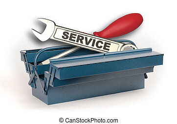 Toolbox open with service wrench isolated on white...