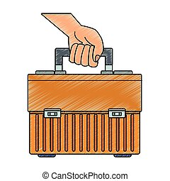 toolbox, rabisco, segurando mão