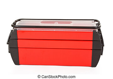 Toolbox - Red closed toolbox isolated on white background