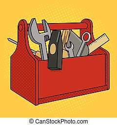 Toolbox red color pop art style vector - Toolbox red color...