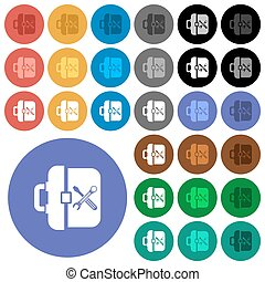 Toolbox round flat multi colored icons