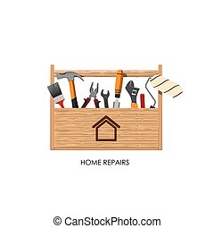 Toolbox. Set of tools for home repairs. Vector illustration