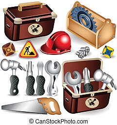 Toolbox set - Set of toolbox along with different tools.