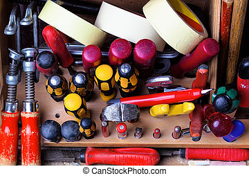 toolbox - the tool case of a craftsman in the open state.