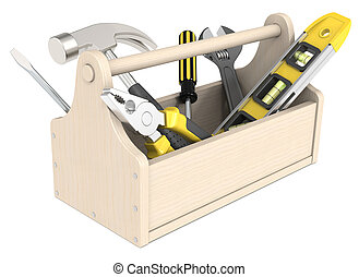 Toolbox. - Toolbox of wood. Miscellaneous Tools.