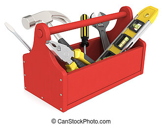Toolbox of wood painted red. Miscellaneous Tools.