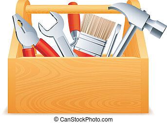 Toolbox. - Wooden toolbox full of tools.