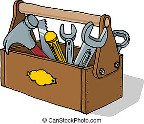 Scalable Vector Illustration of Equipment in Toolbox isolated on white background