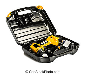 toolbox with yellow drill set isolated on white
