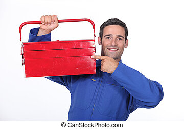 toolbox, zijn, wijzende, man