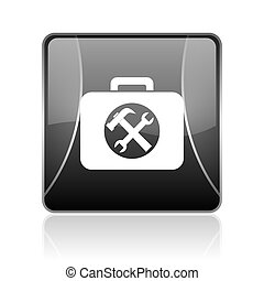 toolkit black square web glossy icon