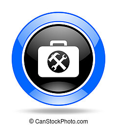 toolkit blue and black web glossy round icon