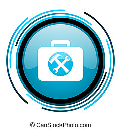 toolkit blue circle glossy icon