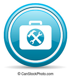 toolkit blue glossy icon on white background