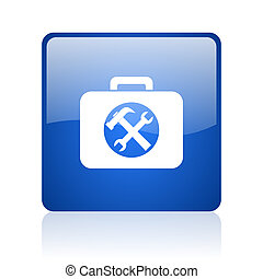 toolkit blue square glossy web icon on white background