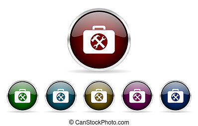 toolkit colorful glossy circle web icons set