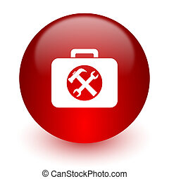 toolkit, dator, bakgrund, vit röd, ikon