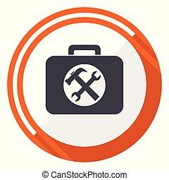 Toolkit flat design vector web icon. Round orange internet button isolated on white background.
