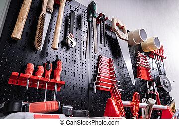 toolkit, gereedschap, muur
