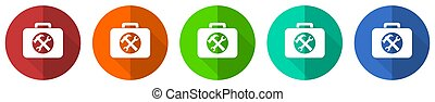 Toolkit icon set, red, blue, green and orange flat design web buttons isolated on white background, vector illustration