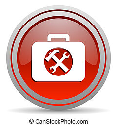 toolkit red glossy icon on white background