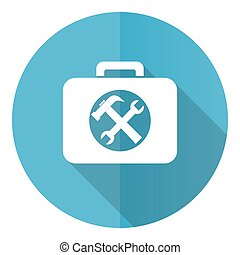 Toolkit vector icon, flat design blue round web button isolated on white background