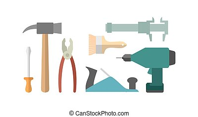 tools., κατσαβίδι , screwdriver., drill., μηχανή πλανίσματος , caliper., τανάλια , σφυρί , brush., ξυλουργική