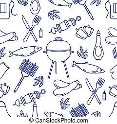 tools., グリル, パターン, seamless, バーベキュー, bbq