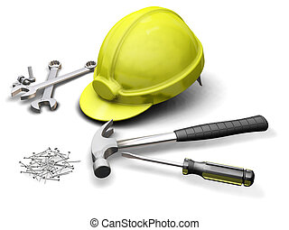 3D render of hard hat and industrial tools