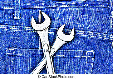 tools and blue jeans