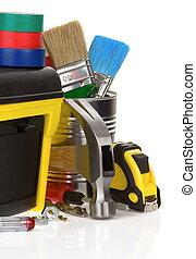 tools and construction toolbox isolated on white background