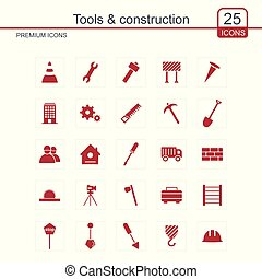 Tools and Constructions icons set vector