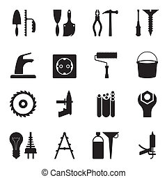 Tools and equipment for construction - vector illustration