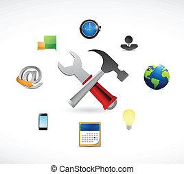 tools and icons around. illustration