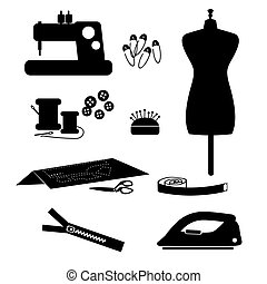 Tools and materials sewing icon set isolated on white background.