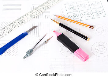 tools and mechanisms detail on the background of engineer drawings