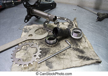 tools and parts for the repair of a bicycle