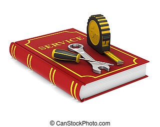 tools and red service book. Isolated 3D illustration