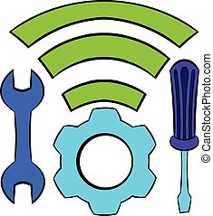 Tools and wifi icon cartoon