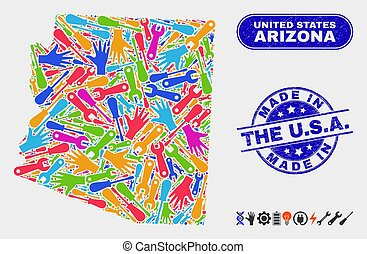 Tools Arizona State Map and Grunge Made in the U.S.A. Stamp Seals